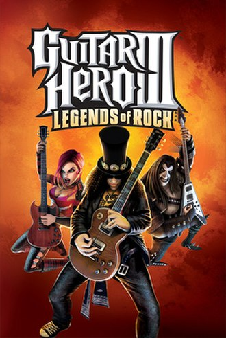Guitar Hero III: Legends of Rock - Cover of Guitar Hero III: Legends of Rock, with Slash in the center, fictional guitarists Judy Nails on the left and Lars Ümlaüt on the right.
