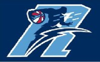 Halifax Rainmen - Alternate Rainmen logo (2007–2008), the Red, White and Blue ABA ball was used in the logo, until it was replaced prior to the 2008–09 season.