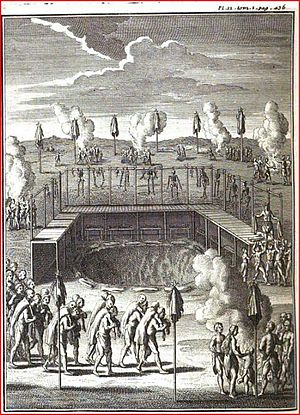 The Huron Feast of the Dead - 1724 engraving depicting the traditional Huron Feast of the Dead.
