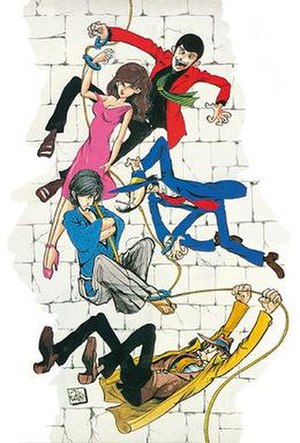 Lupin the Third - The main cast of Lupin the Third, as drawn by Monkey Punch. From top to bottom: Lupin, Fujiko, Jigen, Goemon, Zenigata.