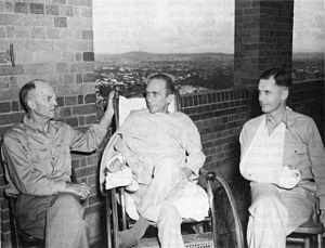 Clovis E. Byers - Brigadier Generals Hanford MacNider, Albert Waldron, and Clovis Byers recuperate in hospital in Australia after being wounded in the Battle of Buna-Gona.