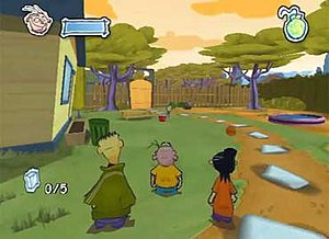 Ed, Edd n Eddy: The Mis-Edventures - Screenshot from the first level of the home console version showing the three main characters: Ed, Edd, and Eddy