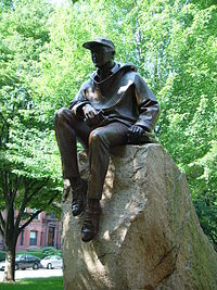 Statue of Morison on the Commonwealth Avenue mall.
