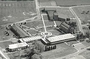 Camden County College -  Mother of the Savior Seminary campus in the 1960s. Wilson Hall in the center, Old Roosevelt Hall on the left (vertical) and Jefferson Hall on the right (vertical)