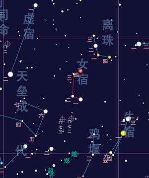 Girl (Chinese constellation) - Nǚ Xiù map
