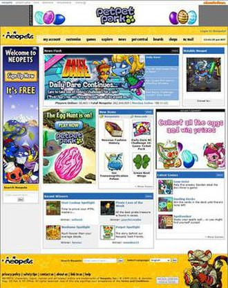 Neopets - Screenshot of the Neopets homepage in March 2010