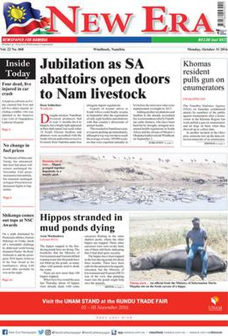 New Era (Namibia) - Front page of 31 October 2016 issue