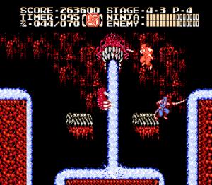 Ninja Gaiden II: The Dark Sword of Chaos - Ninja Gaiden II introduced the ability of Ryu to split his body into multiple forms. Here Ryu's double (the orange ninja) is being used to defeat the boss Naga Sotuva.