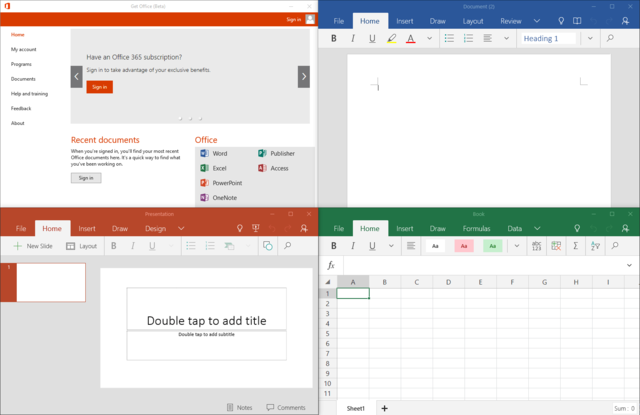 Office mobile apps on Windows 10
