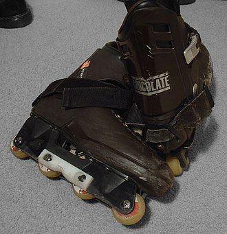 Aggressive inline skating - A pair of Chris Edwards Chocolate aggressive inline skates. This is an older model, which uses grind plates instead of an H-block.