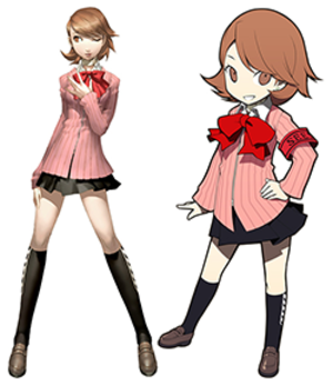 Persona Q: Shadow of the Labyrinth - Yukari's design in Persona 3 (left) and Persona Q (right). The characters were redesigned due to hardware limitations, with a focus on their defining traits.