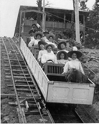Manitou Incline - Image: Photo of a Manitou Incline Railway box car, 1908
