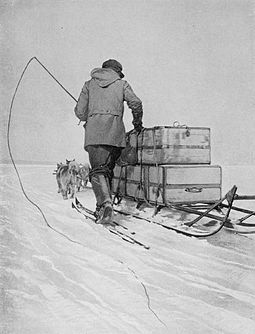 One of the men with a dog team and sledge on the Barrier in early 1911 Polar transport (Amundsen).jpg