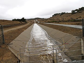 Ventura River - Water from the Ventura River is transported in the Robles Canal to Lake Casitas, an off-river reservoir. Photo courtesy of Lorraine Walter.