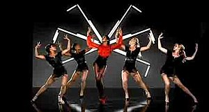 "Work (Kelly Rowland song) - Screenshot of Kelly Rowland and her female dancers in the music video for ""Work"" (Los Angeles, California; 2007)."