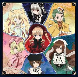Rozen Maiden - The Rozen Maidens with Shinku in the center. From top going clockwise: Suigintou, Kanaria, Suiseiseki, Souseiseki, Hinaichigo, Kirakisho.