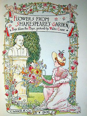 Shakespeare garden - An illustration from Walter Crane's 1906 book, Flowers from Shakespeare's Garden: a Posy from the Plays