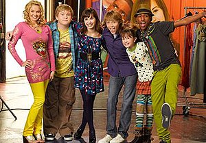 Sonny with a Chance - The cast of Sonny with a Chance. (Left to right) Tiffany Thornton as Tawni Hart, Doug Brochu as Grady Mitchell, Demi Lovato as Sonny Munroe, Sterling Knight as Chad Dylan Cooper, Allisyn Ashley Arm as Zora Lancaster and Brandon Mychal Smith as Nico Harris.