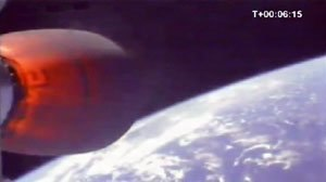Falcon 1 - The second stage Kestrel engine glows red hot during Falcon 1's fourth launch and first successful orbital flight.