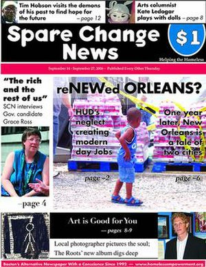Spare Change News - Image: Spare Change News frontpage, 14 September 2006