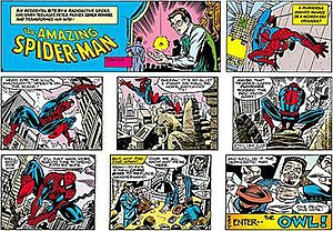 Alex Saviuk - The Amazing Spider-Man Sunday strip from 2004. Pencils by Saviuk, inks by Joe Sinnott.