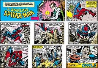 Alex Saviuk - The Amazing Spider-Man Sunday strip from 2004. Pencils by Saviuk, inks by Joe Sinnott.