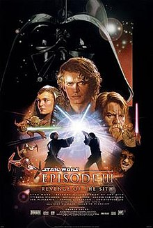 Below a dark metal mask, a young man with long hair is front and center, with a woman at his left and a bearded man at his right. Two warriors hold lightsabers on either side, and below them in the middle, two men clash in a lightsaber duel. Starfighters fly towards us on the lower left, and a sinister hooded man sneers at the lower right.