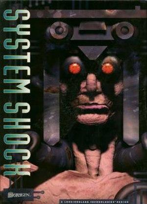"System Shock - Game box art displays a ""Cyborg Elite Guard"" encounterable enemy"