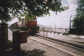 Zambia Railways - A freight train crosses the Victoria Falls bridge into Zambia from Zimbabwe, 2006