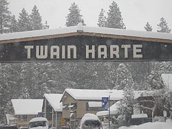 The main entrance into Twain Harte after a snowstorm