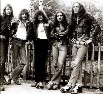 Uriah Heep (band) - Lee Kerslake, David Byron, Gary Thain, Mick Box and Ken Hensley in 1973