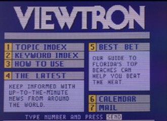 Viewtron - Viewtron opening menu screen
