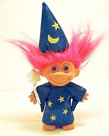 "A ""wizard"" troll doll, manufactured by Russ Berrie in the 1990s"