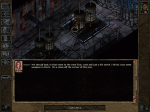 Baldur's Gate II: Shadows of Amn - An instance of dialogue in the game, illustrating the game's interface and isometric perspective.