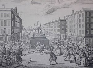Billingsgate - This view by Arnold van Haecken depicts Billingsgate in 1736. It captures the everyday market bustle: featuring fishwives, sailors, porters, thieves, quack-medicine men and casual strollers.