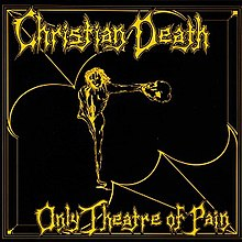 "The background of the album cover is black, with a yellow Christian Death logo emboldened at the top of the artwork and ""Only Theatre of Pain"" at the bottom, both in scratchy yellow print. In between the two texts is a drawing of a distorted, ghoulish figure that resembles Jesus Christ in a crucifix pose. The artwork has yellow-line borders, resembling that of the Bible; furthering its religious affectations."
