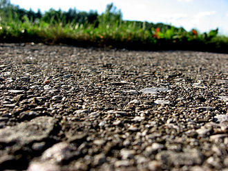 Road surface - Closeup of asphalt on a driveway