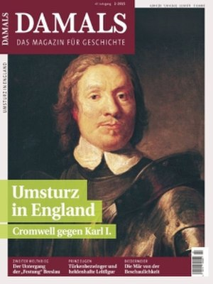 Damals - Cover of issue No. 2/2015, announcing a feature on Oliver Cromwell and the Commonwealth of England