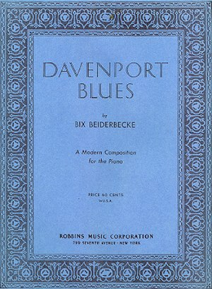 "Davenport Blues - 1927 sheet music cover, ""Davenport Blues"", Robbins Music, New York."