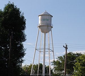 De Soto, Kansas - Water Tower in Downtown Business District (2017)