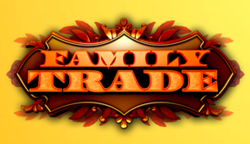 A logo for the American television series Family Trade, featuring orange letters on a dark red and brown plaque over a yellow backdrop