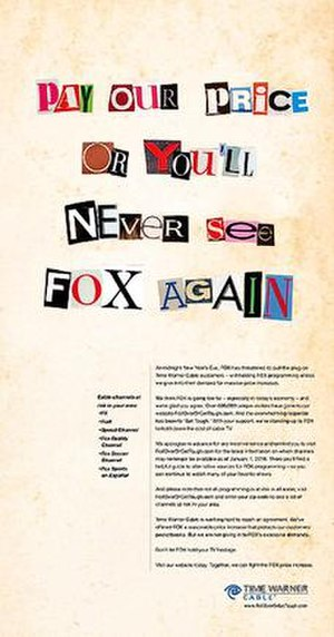Carriage dispute - Image: Fox Time Warner dispute