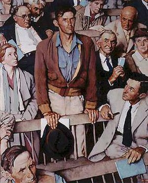 Freedom of Speech (painting) - Rockwell attempted several versions of this work from a variety of perspectives including this one.