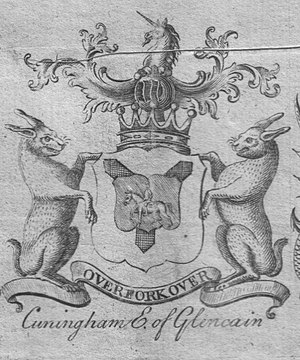 Lambroughton - The coat of arms of the Cunninghames, Earls of Glencairn in 1764