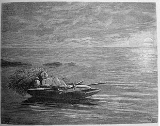 Sceafa - Sceaf in the boat, illustration from Fredrik Sander's 1893 edition of the Poetic Edda