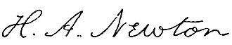Hubert Anson Newton - Image: H. A. Newton sig