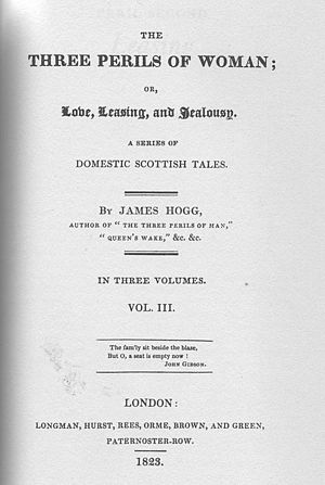 The Three Perils of Woman - Image: Hogg Three Perils Woman title page