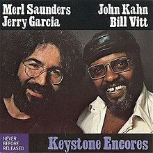 Posed photo of Jerry Garcia and Merl Saunders by Annie Leibovitz