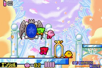 Kirby & the Amazing Mirror - Kirby and his different colored copies travel across the hub world.