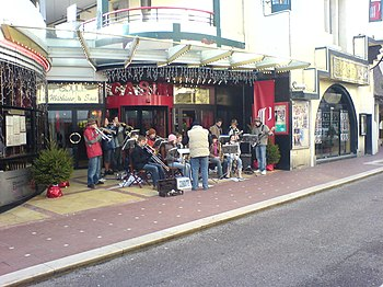 Christmas band outside one of the Le Touquet's...